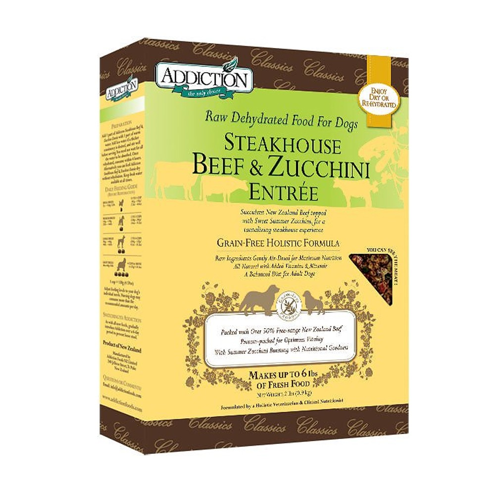 Addiction Raw Dehydrated Steakhouse Beef & Zucchini Entrée for Dogs