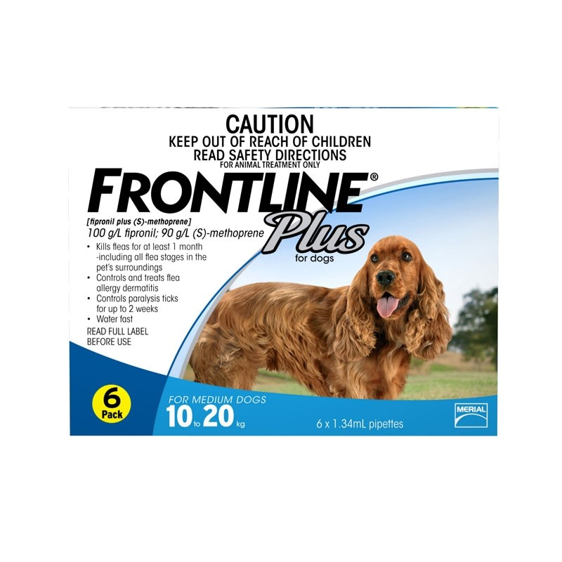 DONATE: Frontline Plus Spot On for Medium Dogs 10 to 20kg, 6 pippettes