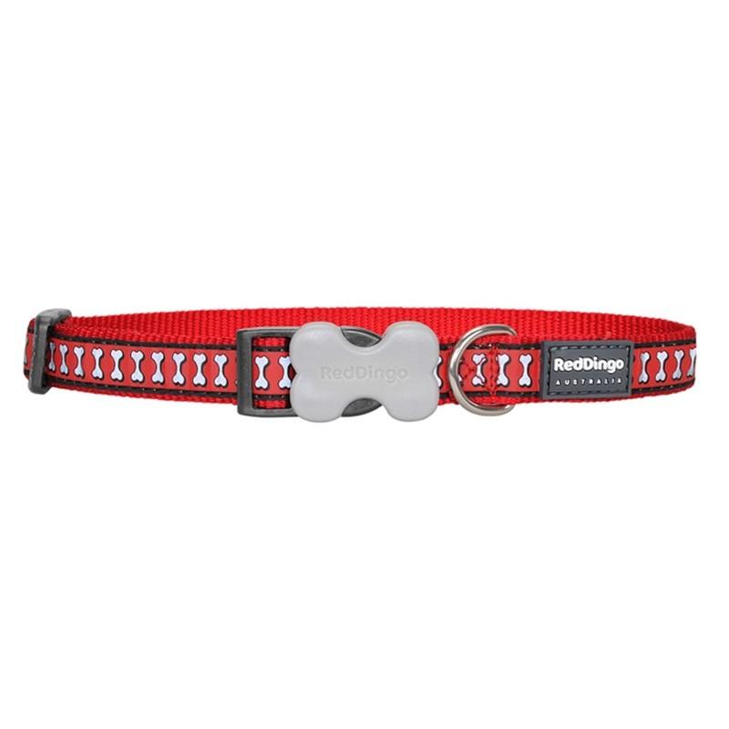 Red Dingo Reflective Bone Design Bucklebone Dog Collar - Small