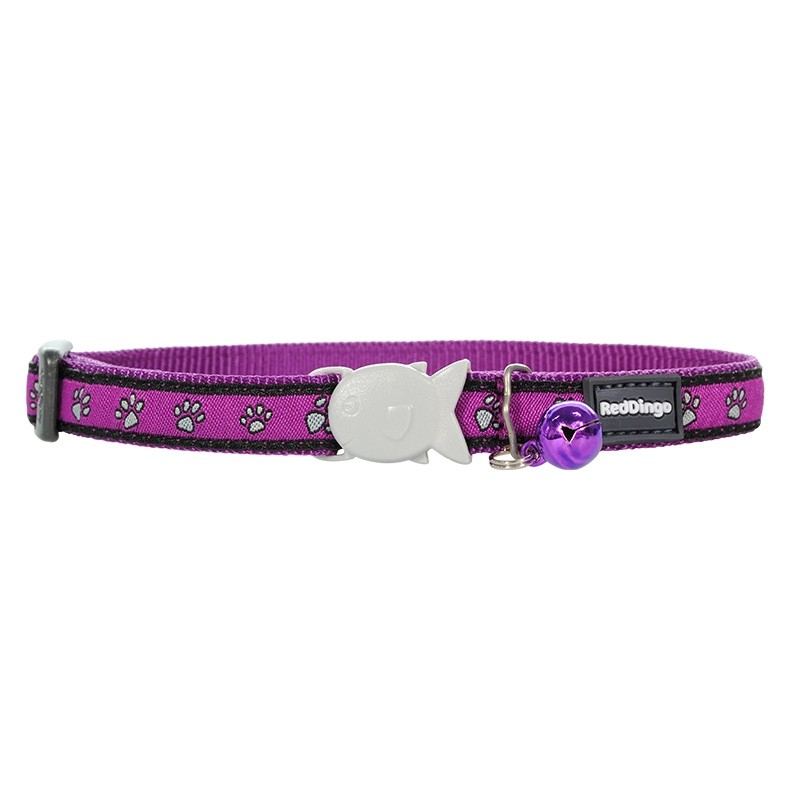 Red Dingo Purple Paw Print Design Quick Release Safety Cat Collar
