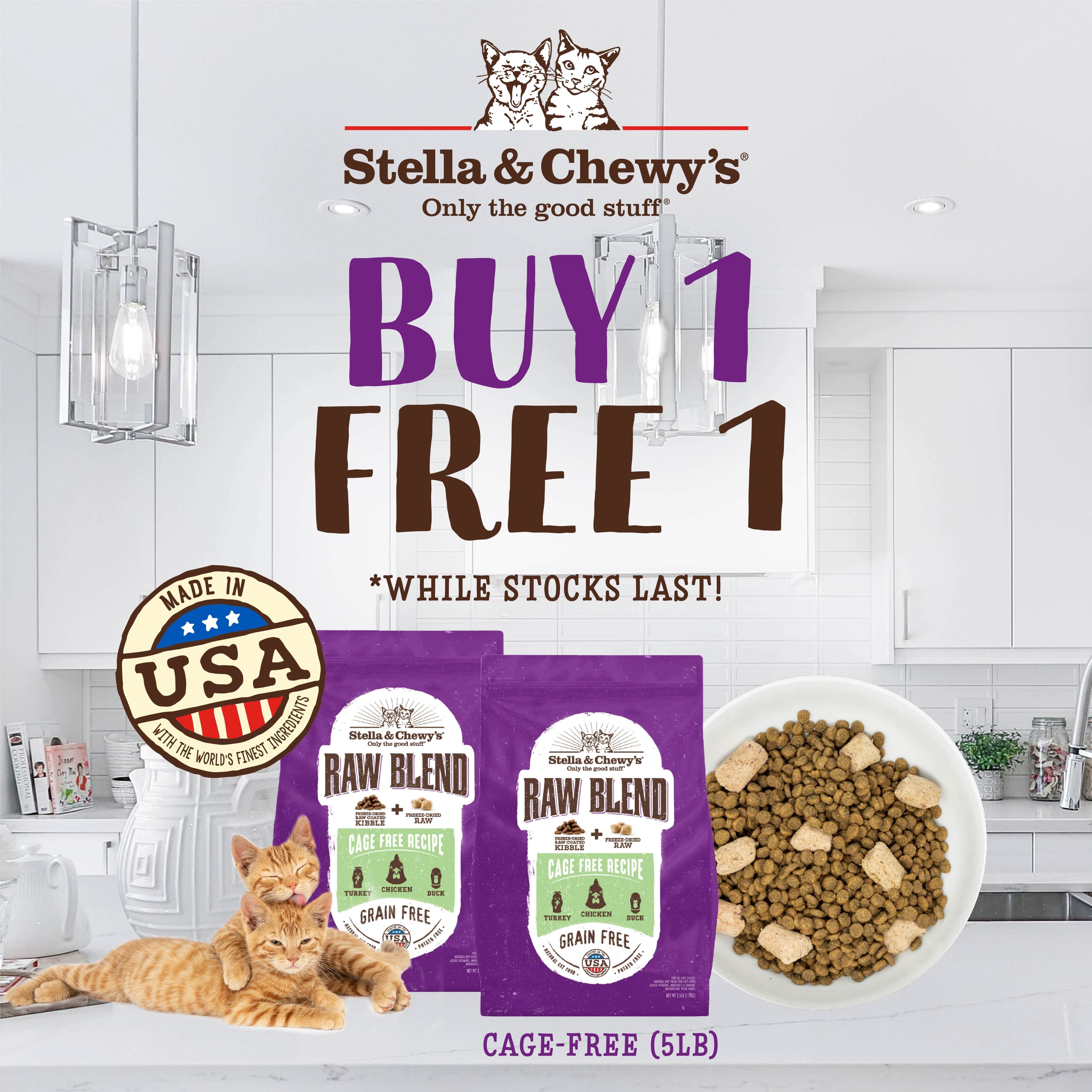 BUY 1 FREE 1: Stella & Chewy's Cat Raw Blend Cage Free 5lbs