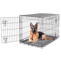 Dog it 2 Door Black Wire Home Crate with Divider - XL