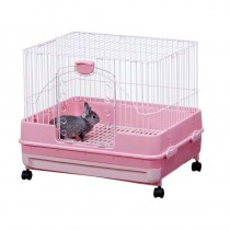 Marukan Rabbit Cage with Pull Out Tray in Pink