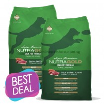 BUY 1 GET 1 FREE: NutraGold Grain Free Duck & Sweet Potato Dry Dog Food 13.6kg