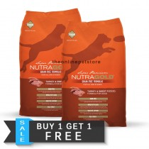BUY 1 GET 1 FREE: NutraGold Grain Free Turkey & Sweet Potato Dry Dog Food 13.6kg