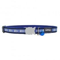 Red Dingo Blue Fish Bone Design Quick Release Safety Cat Collar