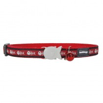 Red Dingo Red Fish Bone Design Quick Release Safety Cat Collar