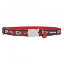 Red Dingo Red Hibiscus Design Quick Release Safety Cat Collar