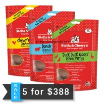 5 FOR $338: Stella & Chewy's Freeze Dried Dinner Patties for Dogs 25oz