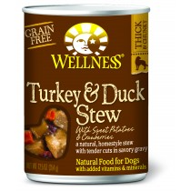 Wellness Homestyle Stew - Grain Free Turkey & Duck Stew with Sweet Potatoes & Cranberries Canned Dog Food
