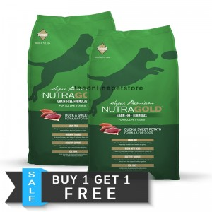 BUY 1 GET 1 FREE: NutraGold Grain Free Duck & Sweet Potato Dry Dog Food 13.6kg